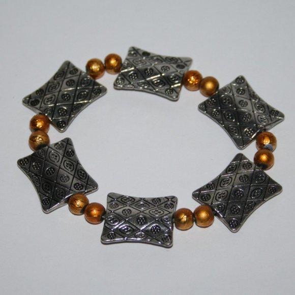 Beautiful silver and orange bracelet
